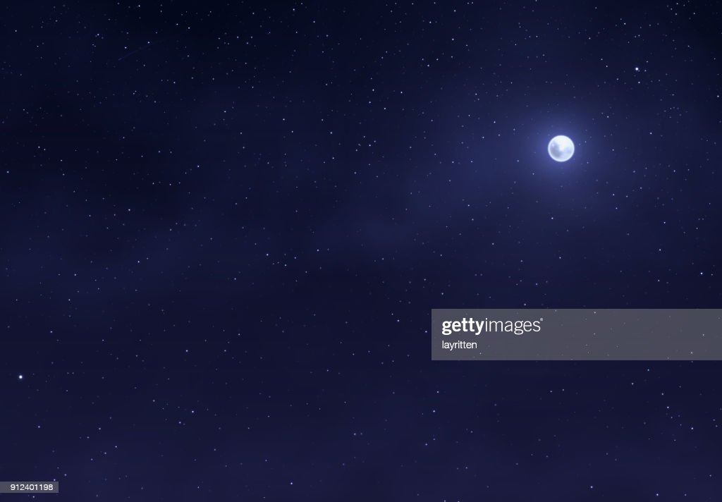 Light night sky with a bright moon. Space stars background.