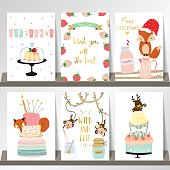 Light pink blue gold love christmas greeting card with fox
