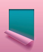 Light pink paper sheet partially rolled up with cut frame