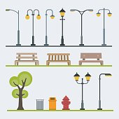 Light posts and outdoor elements for construction of landscapes. Vector flat illustration