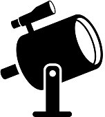 Light Projector and Finder Scope Icon with Long Shadow
