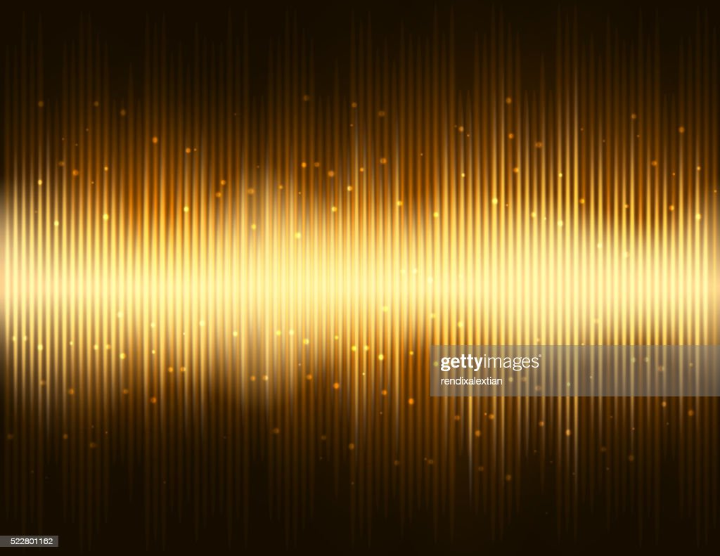 Light pulse party on gold colored background