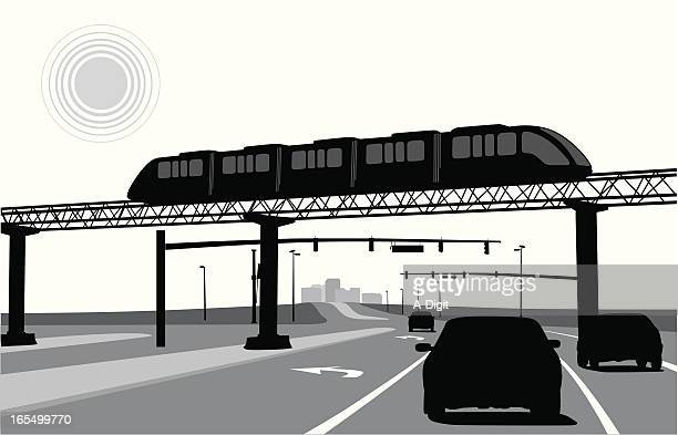 light rail vector silhouette - overpass road stock illustrations