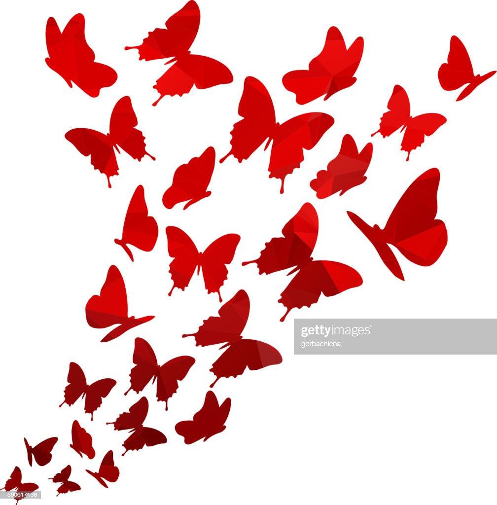 Light red triangle polygon butterflies swirl. Flying elegant butterfly pattern.