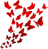 Light red triangle polygon butterflies swirl. Flying elegant butterfly pattern.
