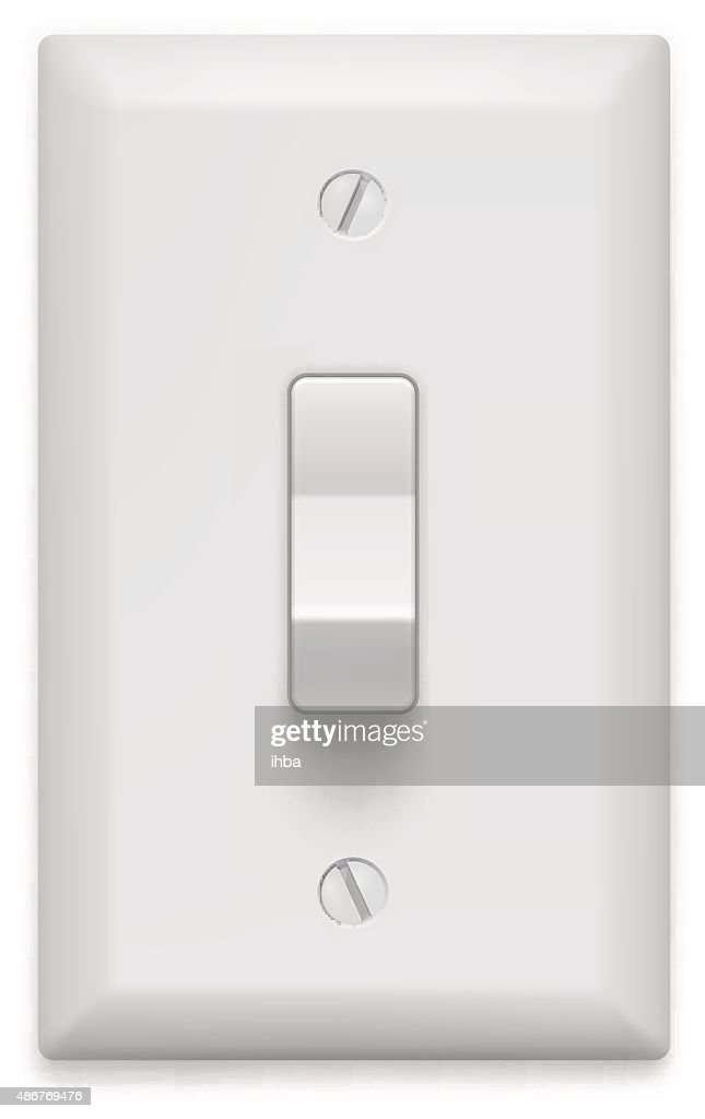 Light switch on white background. Vector illustration