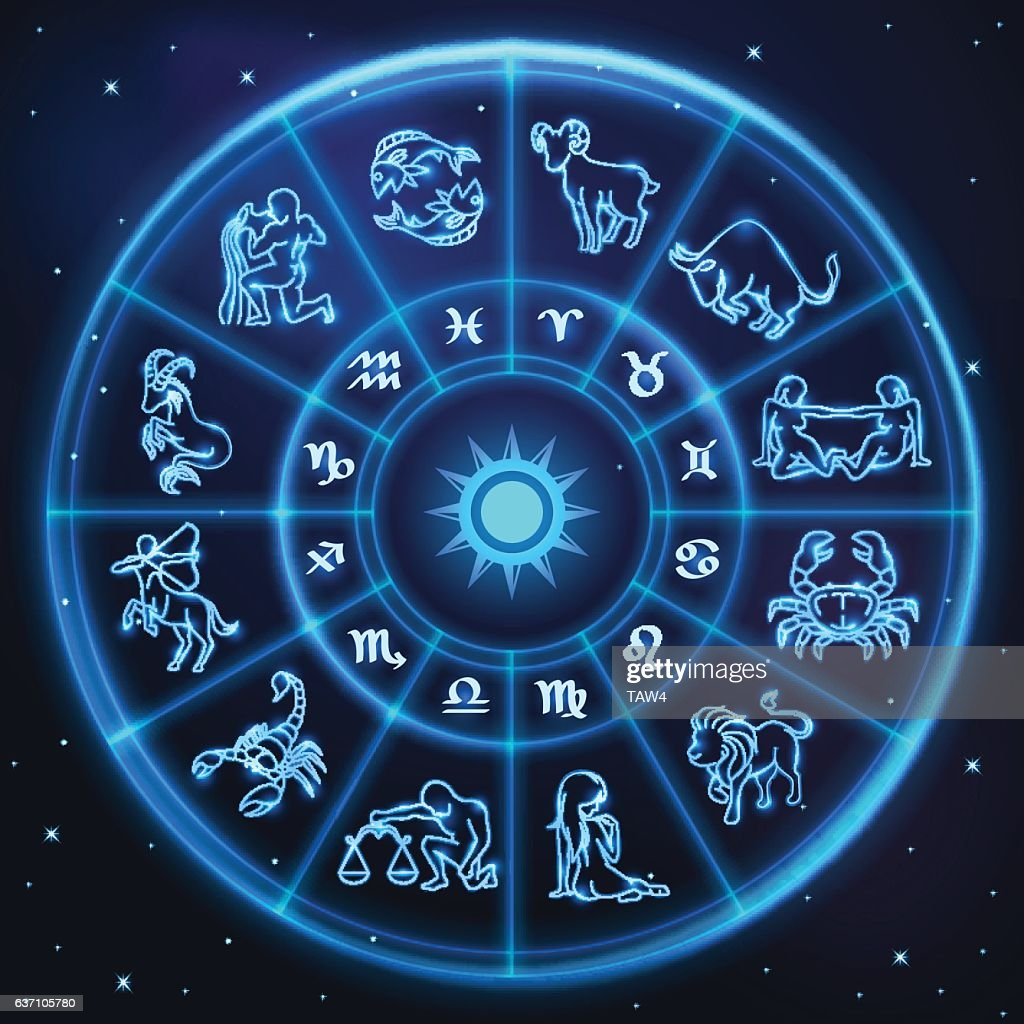 Light symbols of zodiac and horoscope circle