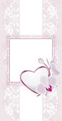Light violet ornamental background with heart and blooming orchids