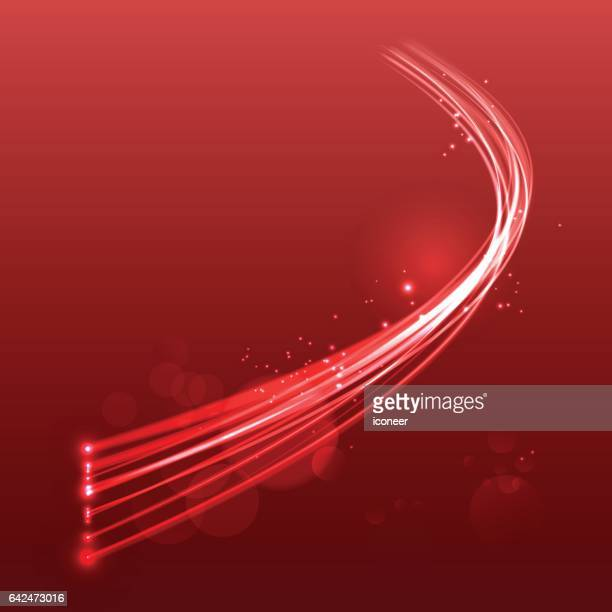 Light wave fibre optic cable on red glowing space background