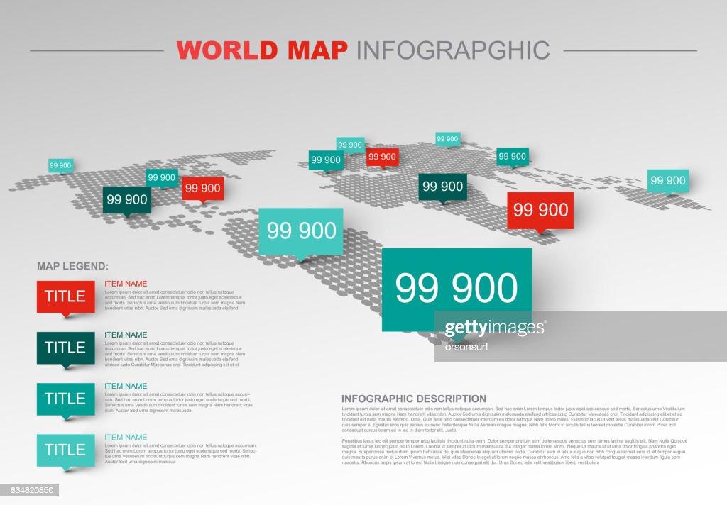 Light World map infographic template