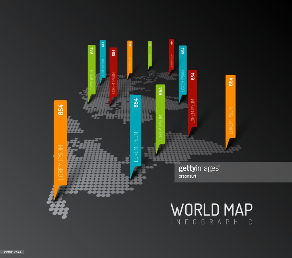Light World map with droplets pointer marks