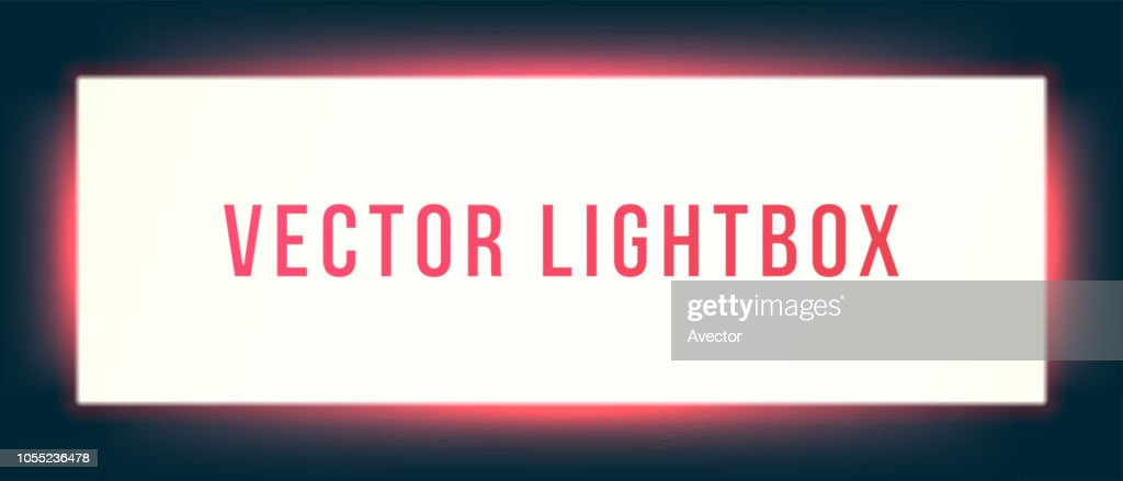 Lightbox sign box mockup. Vector illuminated signage signage light box signboard. Horizontal screen banner with glowing red neon background