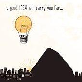 "Lightbulb Balloon - ""A good idea will carry you far..."""