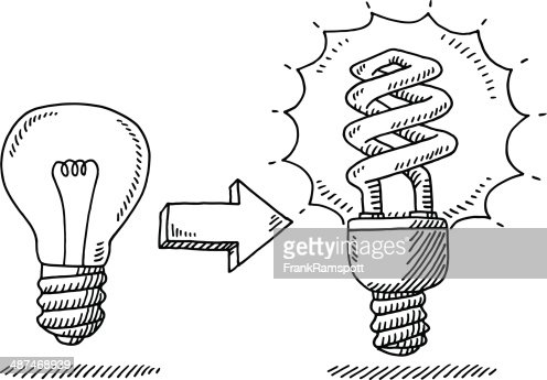 Lightbulb Change Energy Saver Drawing Vector Art Getty