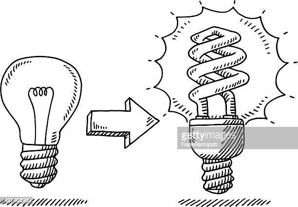 Lightbulb Change Energy Saver Drawing
