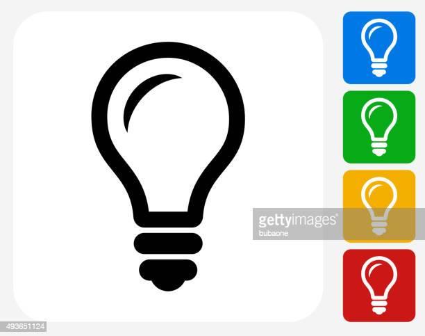 グラフィックデザインの電球のアイコンフラット
