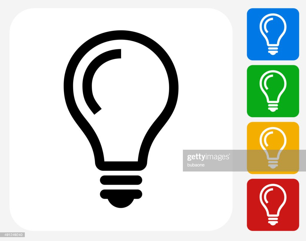 Lightbulb Idea Icon Flat Graphic Design