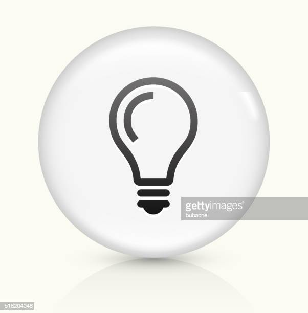 Lightbulb Idea icon on white round vector button