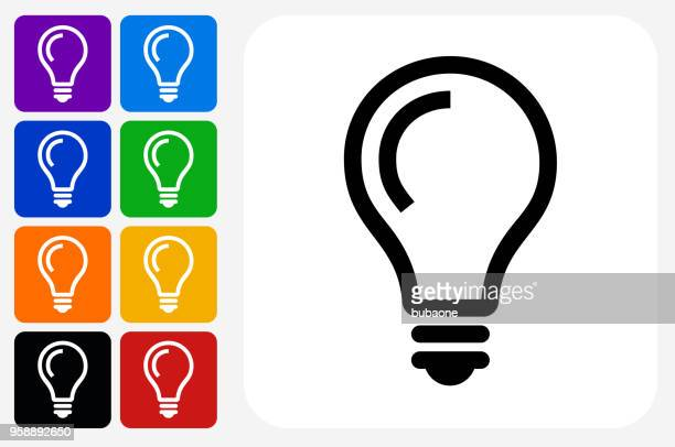 lightbulb idea icon square button set - light bulb stock illustrations
