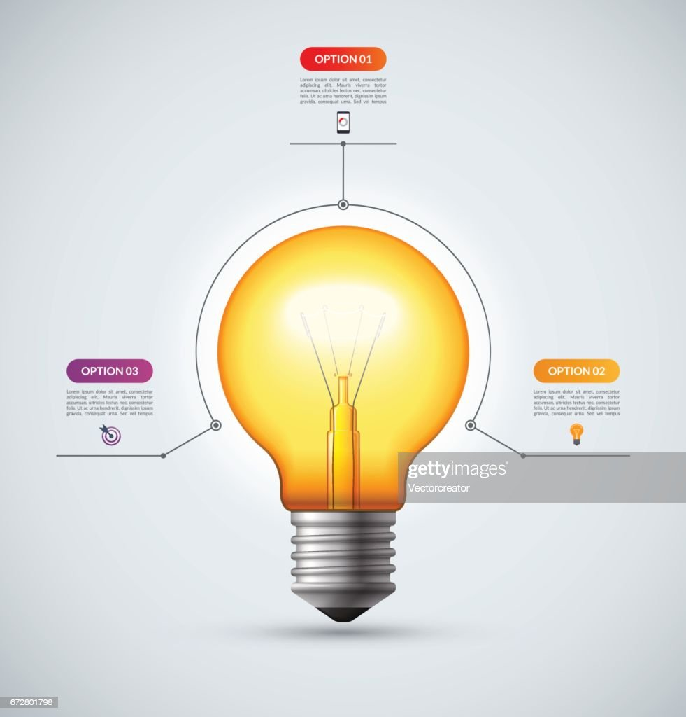 Lightbulb Infographic Template With 3 Options Creative Idea Concept Diagram Of The Incandescent Light How Flourescent Can Be Used For Circular Chart Cycle Graph Workflow Layout Web Design
