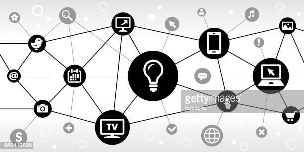 電球インターネット通信技術三角形ノード パターン背景 - insight tv点のイラスト素材/クリップアート素材/マンガ素材/アイコン素材