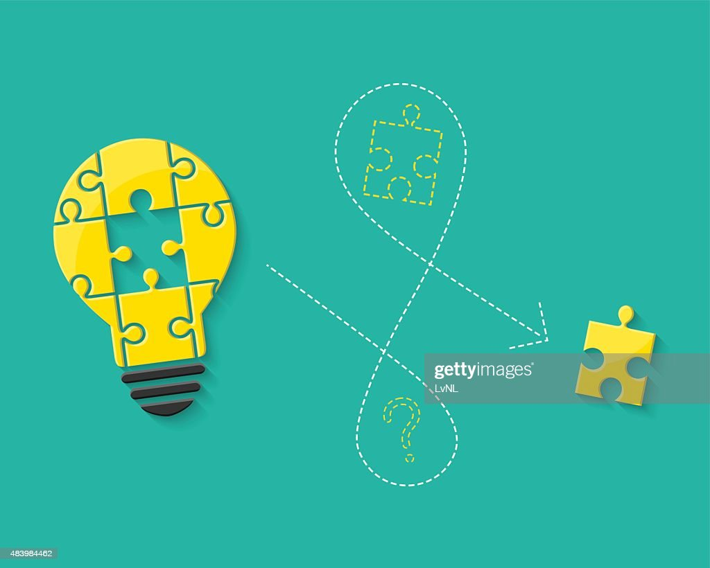 Lightbulb made of puzzle as idea concept