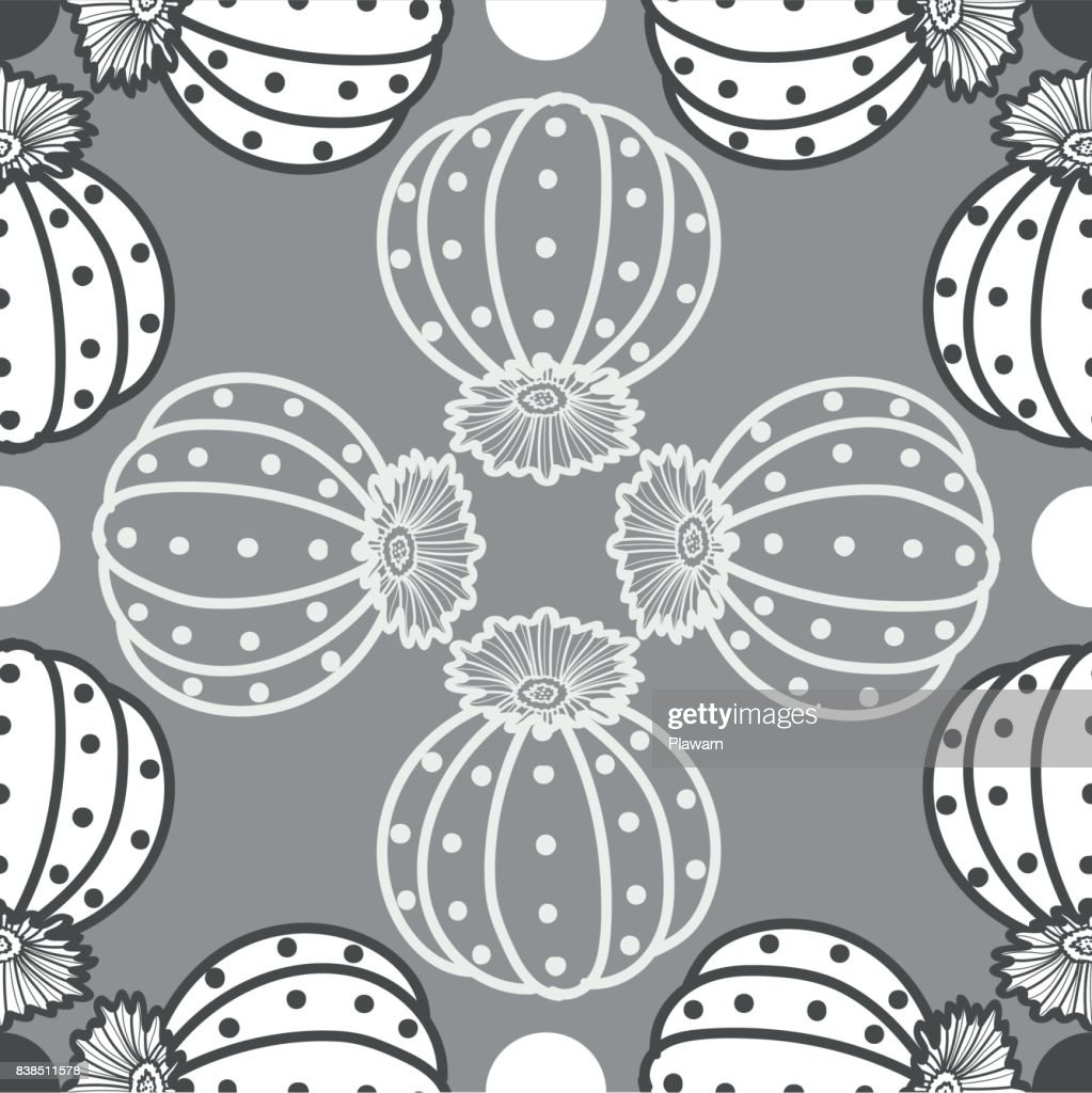 Light&dark gray outline succulents on gray background. Roundabout pattern. Seamless pattern vector illustration.