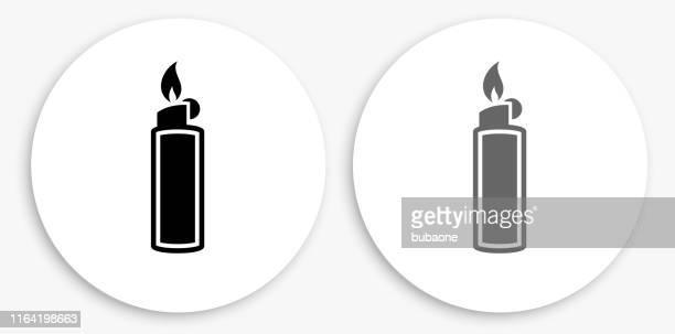 lighter black and white round icon - cigarette lighter stock illustrations