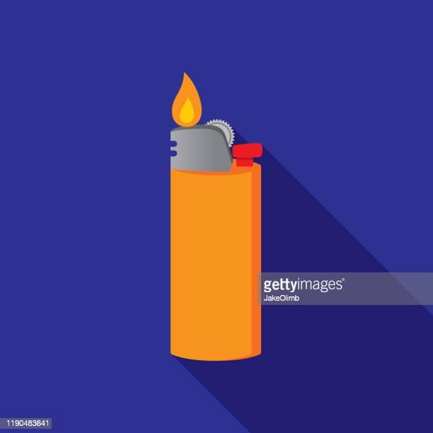 lighter icon flat - cigarette lighter stock illustrations