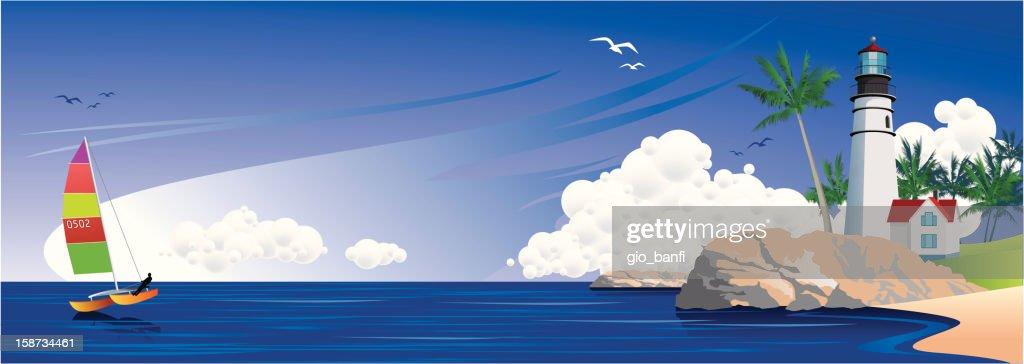 lighthouse and catamaran