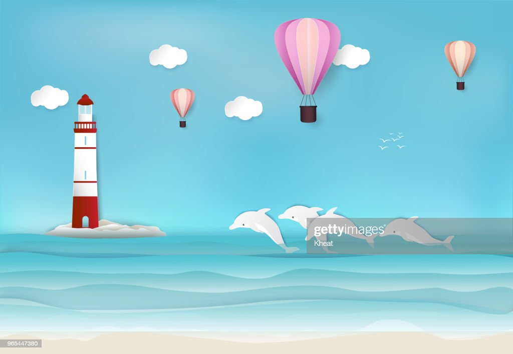 Lighthouse and Dolphin in the sea background paper art, paper craft style illustration