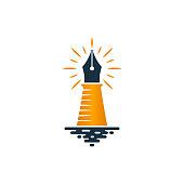 Lighthouse and fountain pen logo design