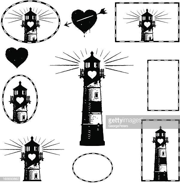 Lighthouse and Romance Design Elements