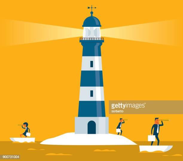lighthouse - business team - lighthouse stock illustrations