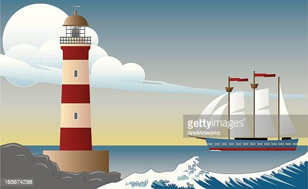 ilustrações, clipart, desenhos animados e ícones de farol dia cena com clipper navio - tall ship