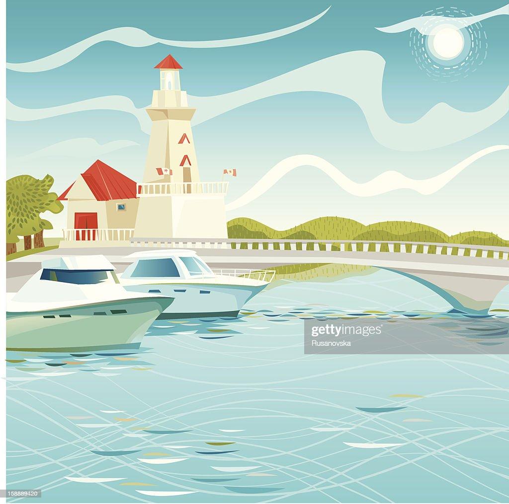 灯台ポートのクレジット : ベクトルアート