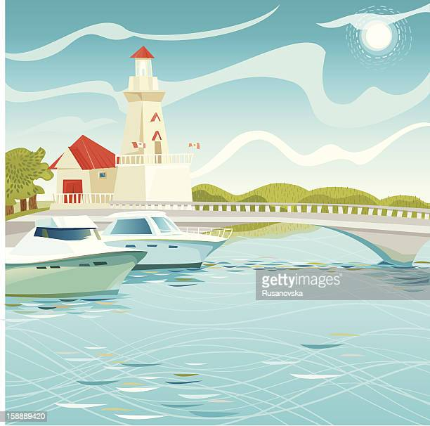 lighthouse in port credit - mississauga stock illustrations
