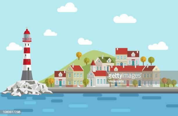 ilustraciones, imágenes clip art, dibujos animados e iconos de stock de vector de la isla del faro - vista marina