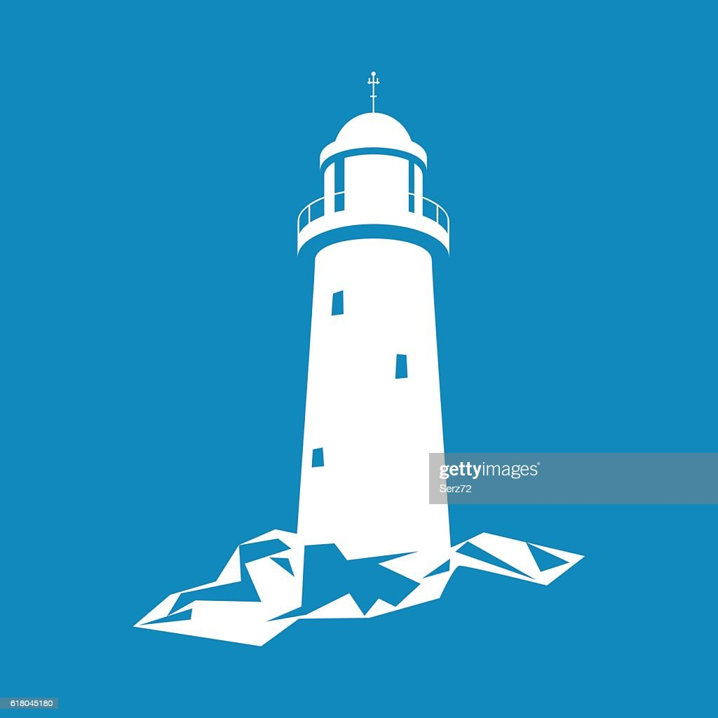 Lighthouse Isolated on Blue