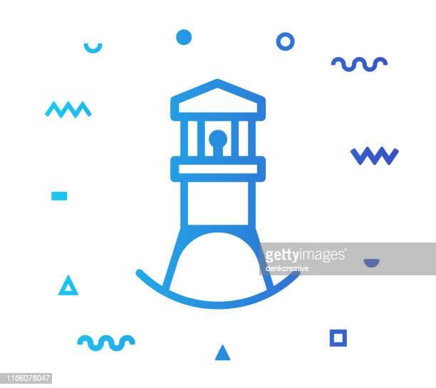 illustrations, cliparts, dessins animés et icônes de conception d'icône de modèle de ligne de phare - rivage