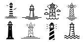 Lighthouse minimalistic flat line stroke outline vector icon set