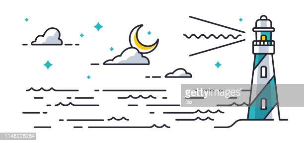 lighthouse ocean - seascape stock illustrations