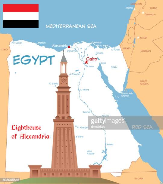 lighthouse of alexandria - thebes egypt stock illustrations