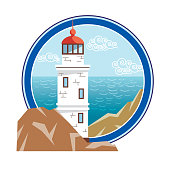lighthouse on an island in the open sea. color illustration