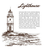 lighthouse on an island in the open sea. vector illustration on a white