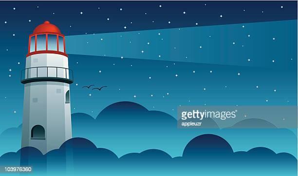 lighthouse over fog - lighthouse stock illustrations