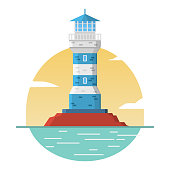 Lighthouse stone tower.Concept of design of an icon or logo for the website. Flat vector.Rock in sea.
