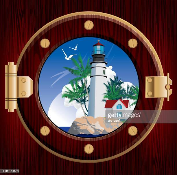 Lighthouse through Porthole