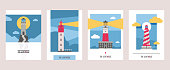 Lighthouse vector beacon lighter beaming path of lighting from seaside coast illustration set of lighthouses isolated on background
