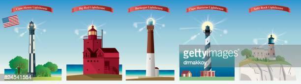 usa lighthouse - lighthouse stock illustrations